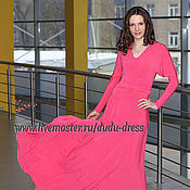 """Одежда ручной работы. Ярмарка Мастеров - ручная работа Розовое платье в пол с рукавами """"летучая мышь"""". Handmade."""