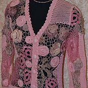 Одежда ручной работы. Ярмарка Мастеров - ручная работа Кофта женская вязаная  Розовый пэчворк. Handmade.