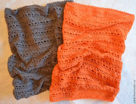 Шарфы и шарфики ручной работы. Ярмарка Мастеров - ручная работа. Купить Серый, оранжевый снуд, шарф, хомут. Handmade.