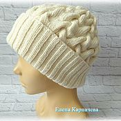 Аксессуары handmade. Livemaster - original item Knitted hat with Braid pattern. Handmade.