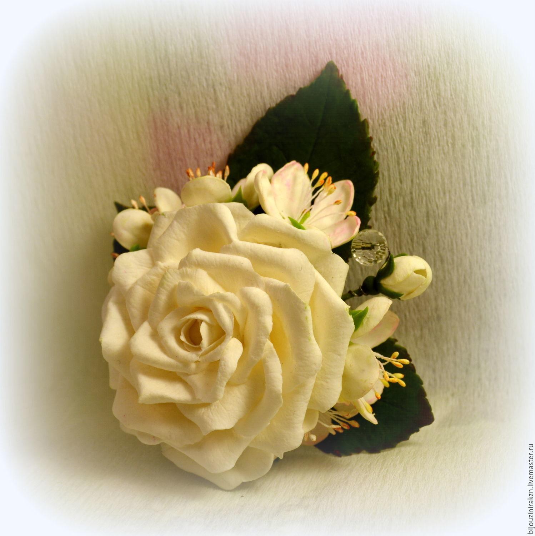 Брошь-зажим для волос с белой розой и цветами яблони, Броши, Казань, Фото №1