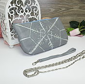 Сумки и аксессуары handmade. Livemaster - original item Gray-silver clutch-snowflake. Handmade.