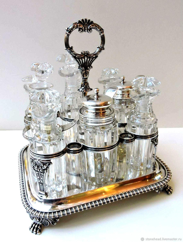 Винтаж: Серебро 925! Антикварный набор для специй,масла,уксуса, Сервизы винтажные, Данвилл,  Фото №1