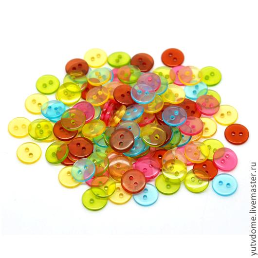 Шитье ручной работы. Ярмарка Мастеров - ручная работа. Купить 0643 Пуговицы пластиковые 11 мм 5 цветов. Handmade.
