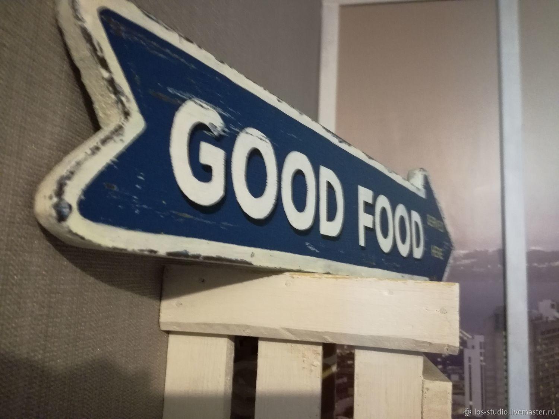 Указатель-стрелка для паба GOOD FOOD, Вывески, Химки,  Фото №1