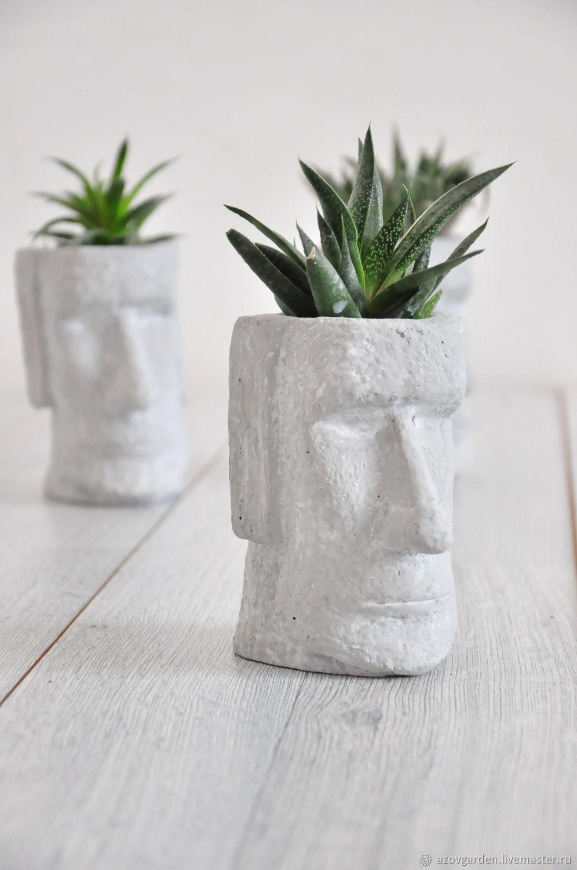 pots: Planters made of concrete Moai small, creative plants, succulents, Pots1, Azov,  Фото №1