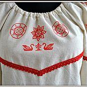 Русский стиль handmade. Livemaster - original item Women`s shirt linen amulet with the author`s paintings. Handmade.