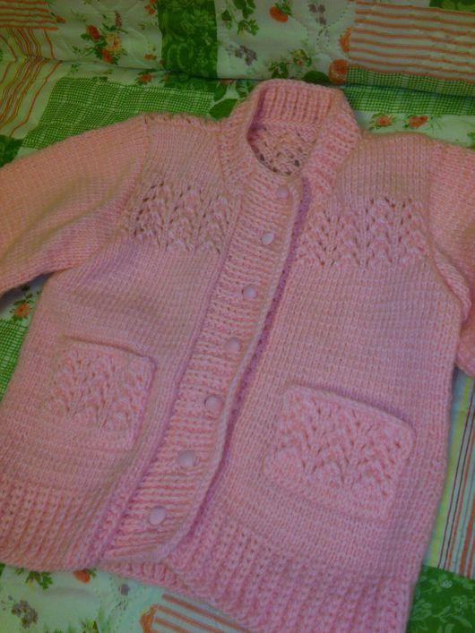 Кофты и свитера ручной работы. Ярмарка Мастеров - ручная работа. Купить Кофточка для девочки ручной вязки. Handmade. Бледно-розовый