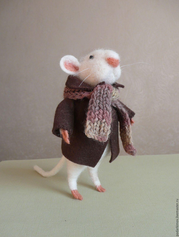 Мышка из шерсти. Джентльмен на прогулке. Авторская валяная игрушка, Войлочная игрушка, Санкт-Петербург,  Фото №1