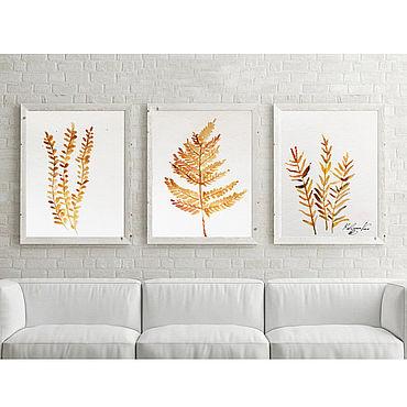 """Картины и панно ручной работы. Ярмарка Мастеров - ручная работа Триптих  Акварель """"Природная охра"""" A4 x 3. Handmade."""