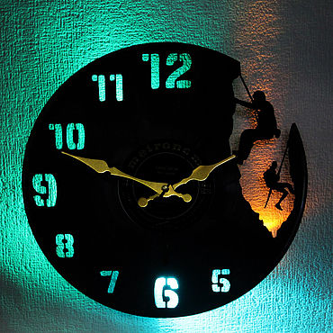 For home and interior handmade. Livemaster - original item Wall clock LED backlight of vinyl Climbers. Handmade.
