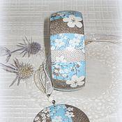 Украшения handmade. Livemaster - original item Blue & brown wooden bracelet, pendant  Early spring. White striped. Handmade.