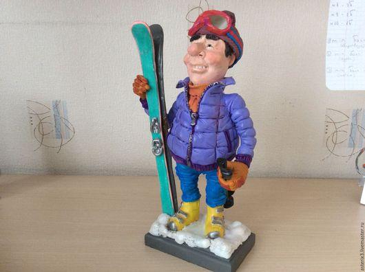 """Люди, ручной работы. Ярмарка Мастеров - ручная работа. Купить Кукла """"Лыжник"""". Handmade. Сиреневый, лыжи, Для мужчины"""