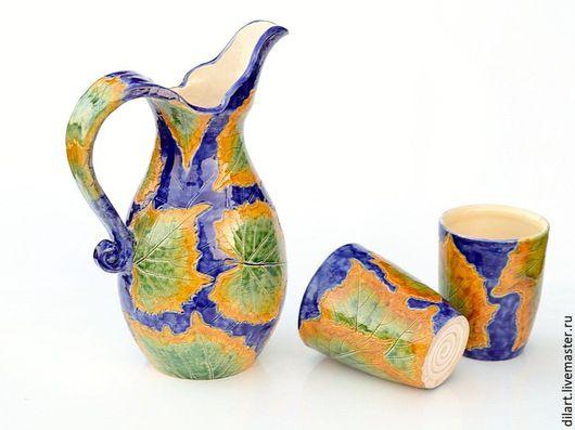 Графины, кувшины ручной работы. Ярмарка Мастеров - ручная работа. Купить Кувшин для вина или воды c двумя стаканами Изабелла. Handmade.