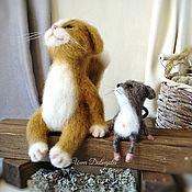 Куклы и игрушки handmade. Livemaster - original item Cat March with a friend mouse interior felted toys. Handmade.