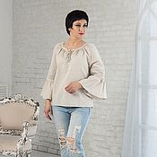 Одежда handmade. Livemaster - original item Linen blouse with lace and lacing natural color. Handmade.