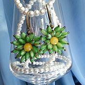 Украшения ручной работы. Ярмарка Мастеров - ручная работа Серьги зеленые цветы. Handmade.