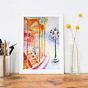 """Открытки ручной работы. Ярмарка Мастеров - ручная работа Акварель """"Карусель. Париж"""" оригинал открытка. Handmade."""