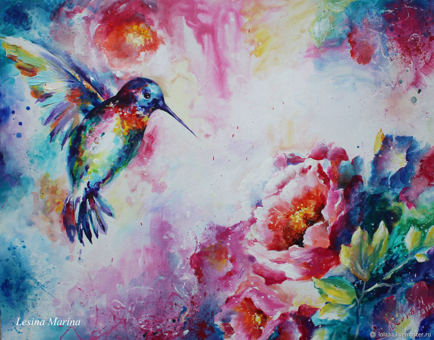Hummingbird acrylic painting on canvas Hummingbird flowers ...