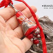 Украшения handmade. Livemaster - original item Joy - bell pendant lampwork - red gray - murrini flowers. Handmade.