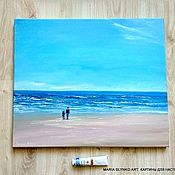 Картины и панно handmade. Livemaster - original item Oil painting. Sea. beach. Two. Seascape. Handmade.