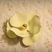 """Броши винтажные ручной работы. Ярмарка Мастеров - ручная работа Брошь с эмалью """"Белый цветок"""". Handmade."""