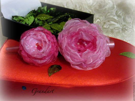 Заколки ручной работы. Ярмарка Мастеров - ручная работа. Купить Заколка-уточка для волос Розовые пионы. Handmade. Розовый