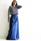 Одежда ручной работы. Ярмарка Мастеров - ручная работа Юбка в пол синяя из шерсти и шелка в клетку. Handmade.