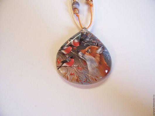 Кулон `Любопытный лисенок` роспись по камню
