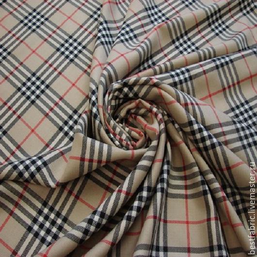 плательно-костюмная ткань сток BURBERRY , Италия шерсть шир. 152 см клктка 16х18 см цена 2600 р средней толщины, плотная, упругая, теплая , не мнется
