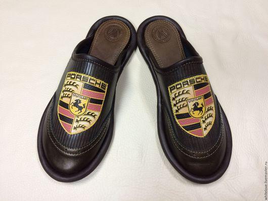 """Обувь ручной работы. Ярмарка Мастеров - ручная работа. Купить Кожаные тапочки """" PORSCHE""""( на резине).. Handmade. Коричневый"""