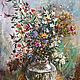 Картины цветов ручной работы. Ярмарка Мастеров - ручная работа. Купить Полевые цветы. Картина маслом. Handmade. Голубой