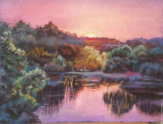 """Пейзаж ручной работы. Ярмарка Мастеров - ручная работа. Купить Картина пастелью """"Сиреневый закат"""". Handmade. Комбинированный, пейзаж пастелью"""