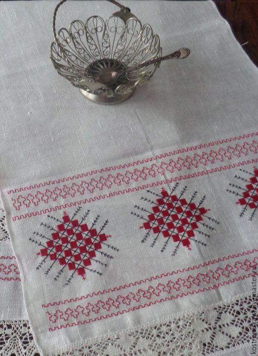 Вышитое полотенце, машинная вышивка, рисунок свадебный - символ - всхожее поле, плодородие, характерен для Костромского края.Милада Семидола.