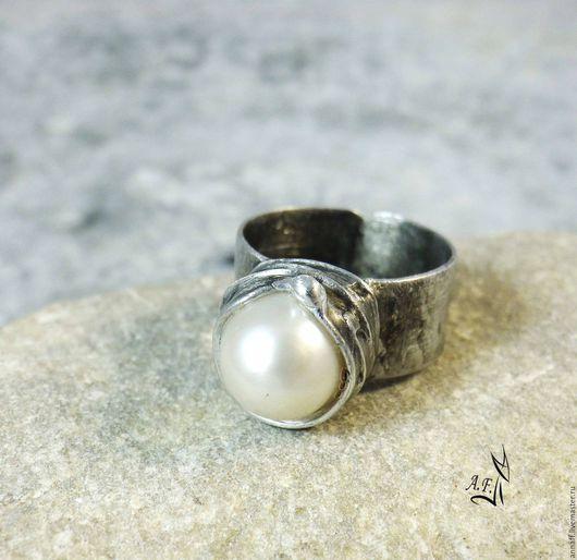 """Кольца ручной работы. Ярмарка Мастеров - ручная работа. Купить """"Ассоль"""" - кольцо с жемчужиной майорика. Handmade. Белый, кольцо с жемчугом"""
