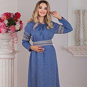 Русский стиль handmade. Livemaster - original item Dress linen Linen rain Russian. Handmade.