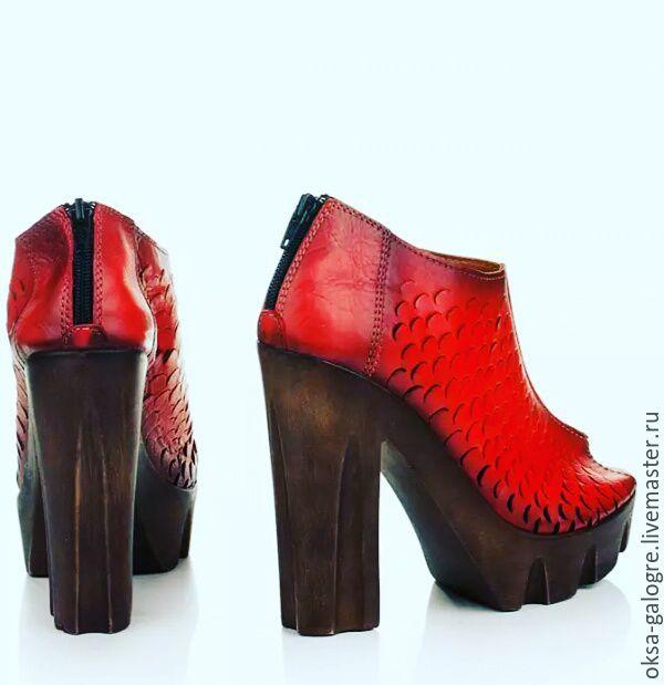 Ботинки кожаные комбинированные