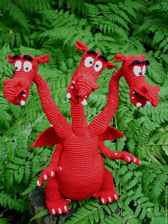 Змей Горыныч трехголовый вязаный.Дракон трёхголовый вязаный, Мягкие игрушки, Пенза,  Фото №1