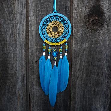 Feng Shui handmade. Livemaster - original item Dream catcher yellow-blue Little dream catcher. Handmade.