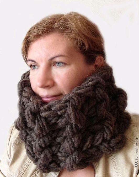 Шарфы и шарфики ручной работы. Ярмарка Мастеров - ручная работа. Купить Супер объемный шарф снуд 15 x 70 см из самой толстой пряжи 55011. Handmade.