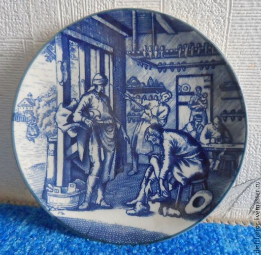 Винтажные предметы интерьера. Ярмарка Мастеров - ручная работа. Купить Delft Boch плакетка. Handmade. Голубой, delft, фарфоровая тарелка