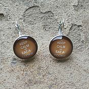 Украшения handmade. Livemaster - original item Earrings silver plated Keep calm (cookie). Handmade.