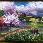 """Картины и панно ручной работы. Ярмарка Мастеров - ручная работа картина из шерсти """"весенний пейзаж"""". Handmade."""