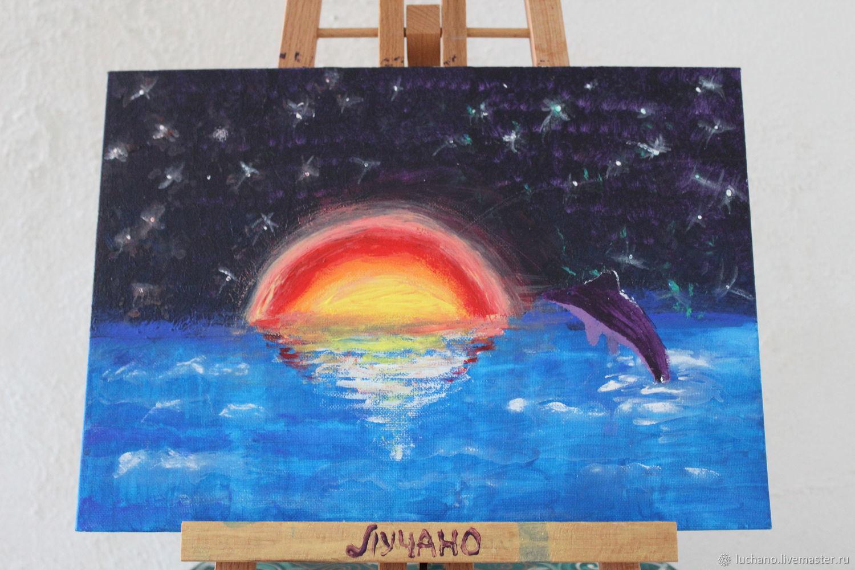 Дельфин в закате солнца на теплом море, Картины, Москва,  Фото №1