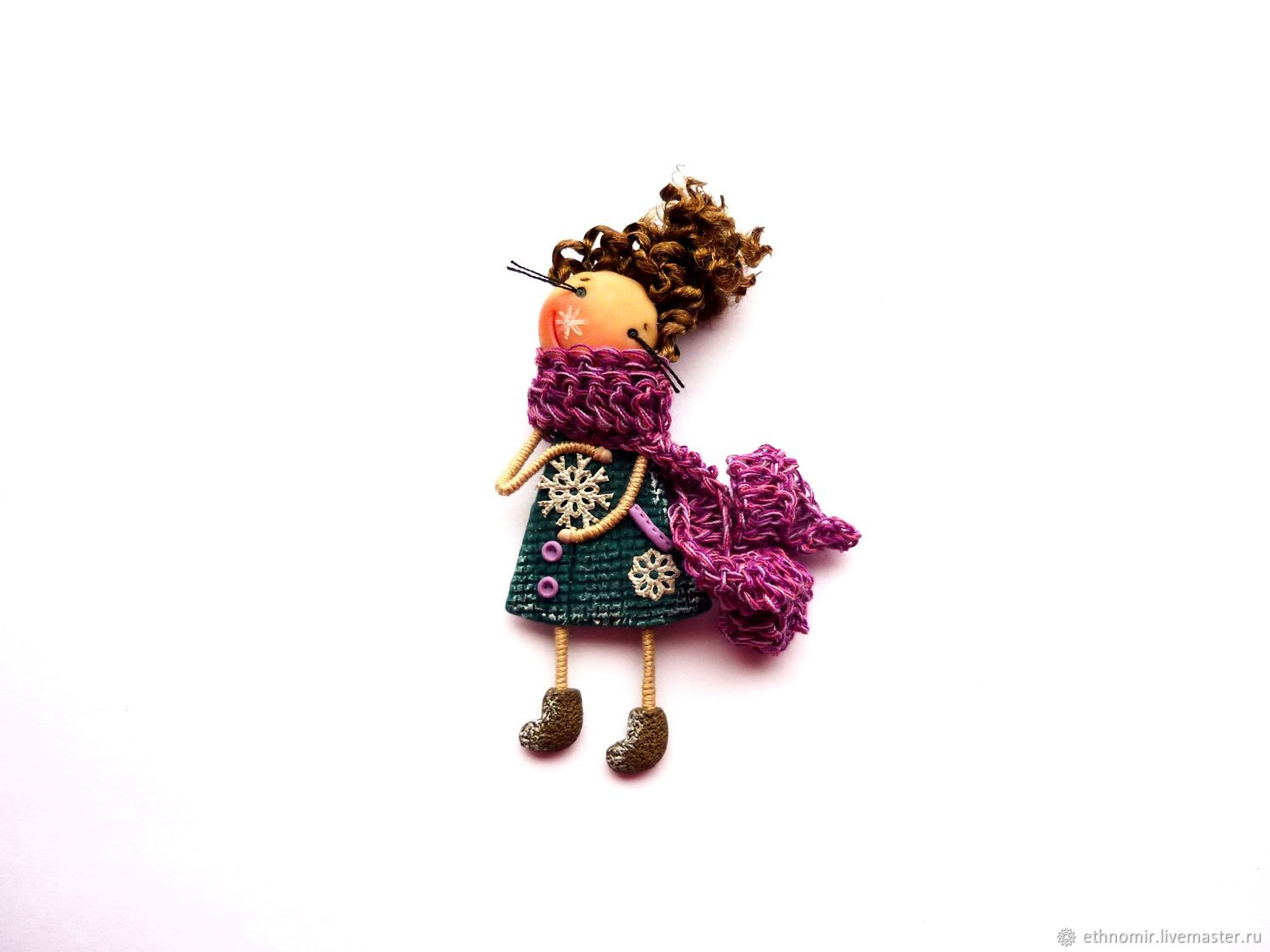 brooch girl 'And it's snowing...', Brooches, Irbit,  Фото №1