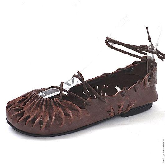 Обувь ручной работы. Ярмарка Мастеров - ручная работа. Купить Мокасины на шнуровке. Handmade. Коричневый, Кожаные босоножки