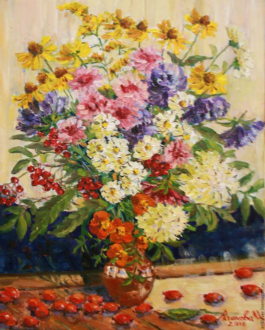 Натюрморт ручной работы. Ярмарка Мастеров - ручная работа. Купить Цветы и шиповник. Handmade. Комбинированный, цветы в вазе, цветы, Рябина