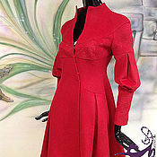 """Одежда ручной работы. Ярмарка Мастеров - ручная работа Пальто с вышивкой шелком """"Роскошный Красный"""" из кашемира. Handmade."""
