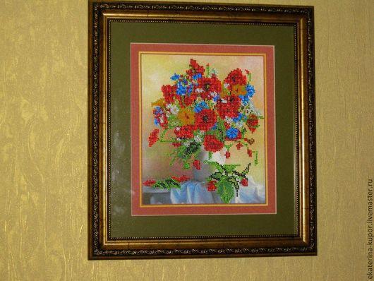 Картины цветов ручной работы. Ярмарка Мастеров - ручная работа. Купить Картины вышитые бисером. Handmade. Разноцветный, картина на холсте