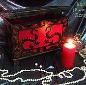 """Для дома и интерьера ручной работы. Ярмарка Мастеров - ручная работа Шкатулка -ларец """"Восточный Дракон"""" красный черный.. Handmade."""